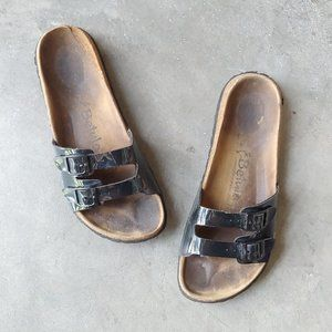 Betula Black Patent Double Strap Sandals 39
